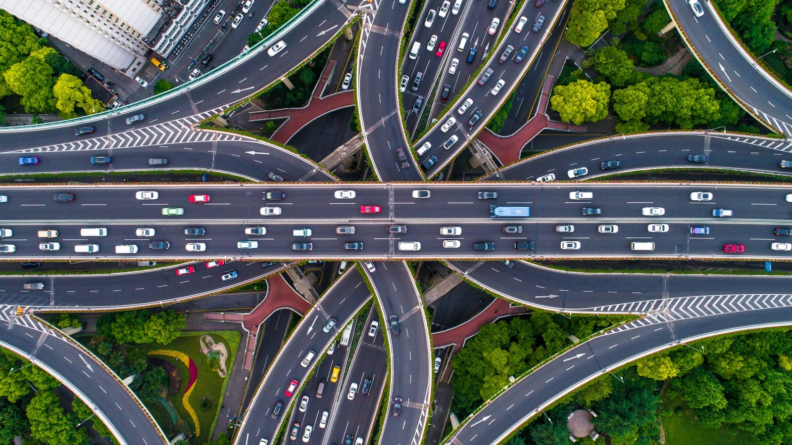 Aerial View Highway System Stock Photo