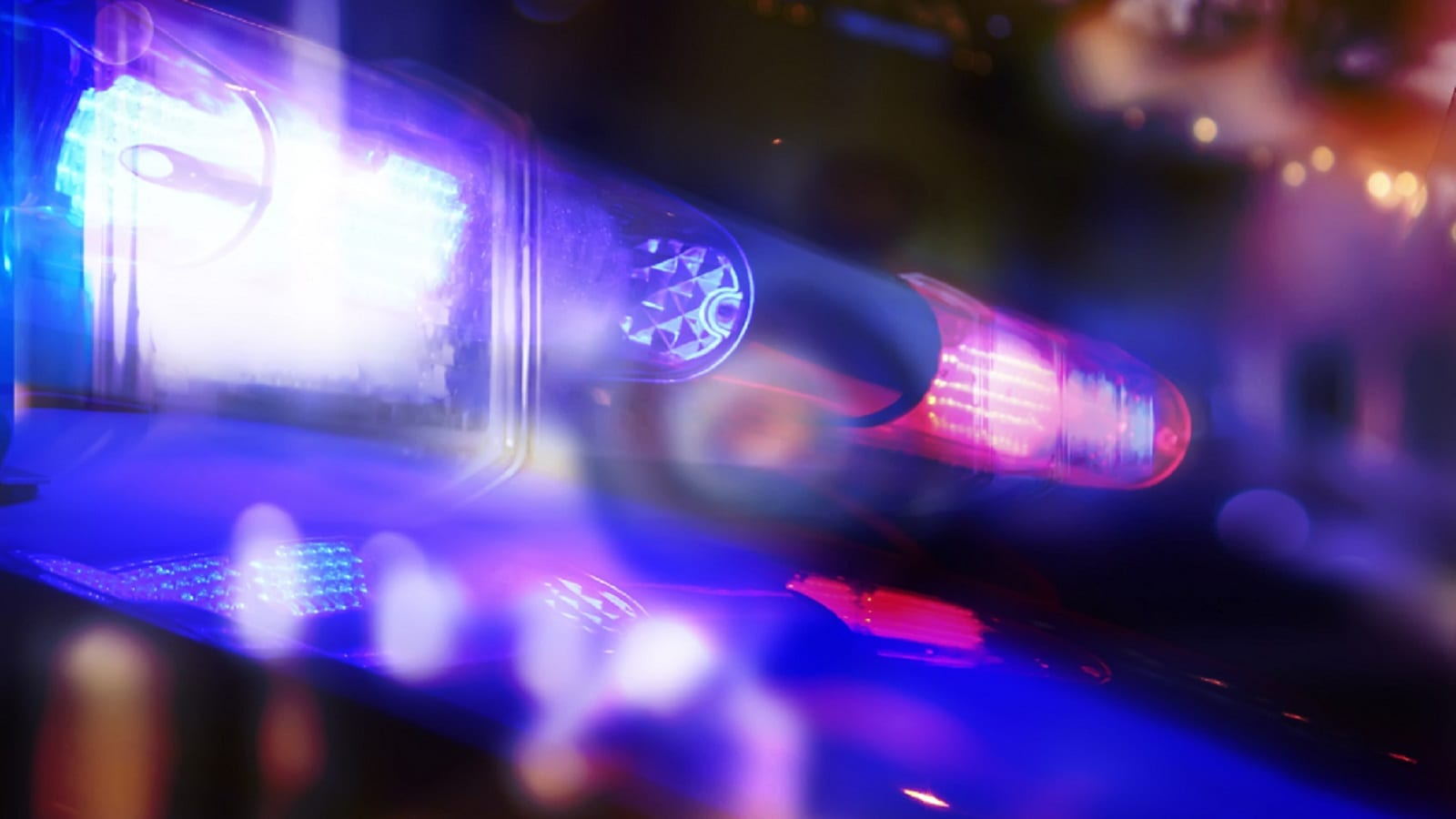Flashing Police Lights At Night Stock Photo
