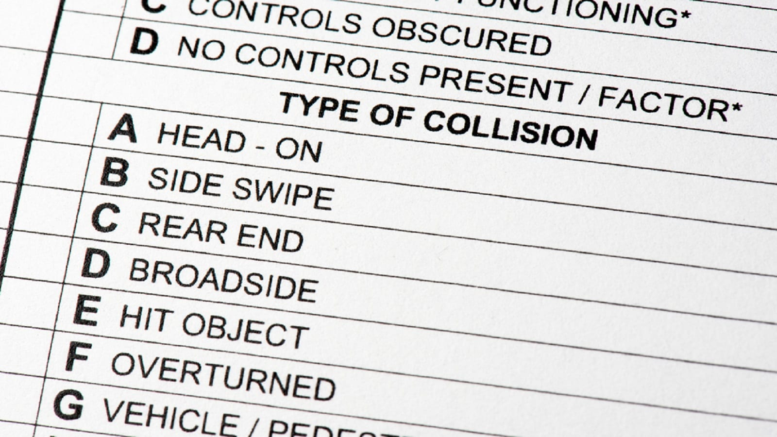 Traffic Collision Report Stock Photo