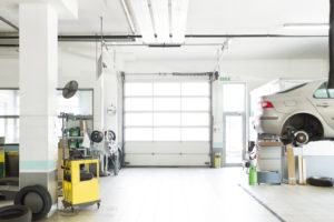 auto repair garage with car being serviced
